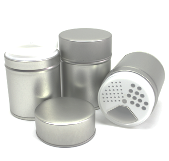 Gewürz Dose / Streuer aus Metall mit Kunststoff Streueinsatz