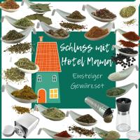 Schluss mit Hotel Mama Spar-Set (20 Gewürze + 6 Streuer + 1 Mühle)